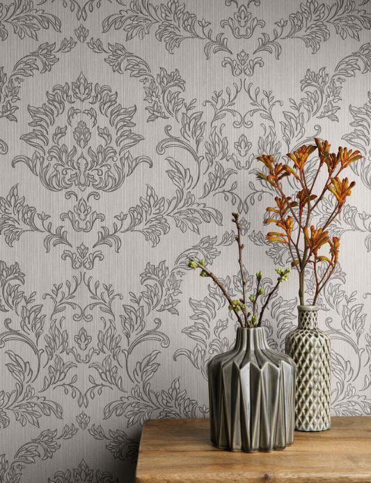Textile wallpaper Wallpaper Clarise dark grey Room View