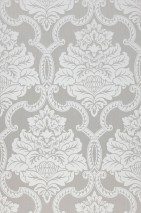 Wallpaper Amalia Matt pattern Shimmering base surface Baroque damask Light grey Grey white
