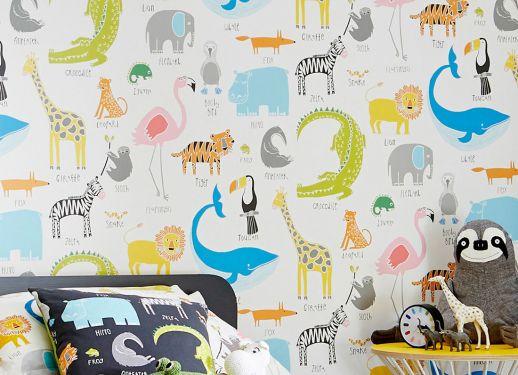 Papel pintado My favorite Animals blanco crema Ver habitación