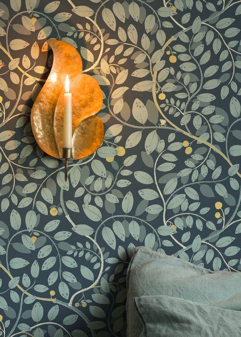 Papel pintado botánico Papel pintado Grada antracita Ver habitación