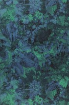 Wallpaper Hanna Matt Leaves Sunflowers Patina green Pearl blue Black