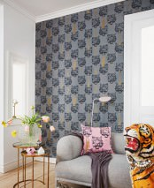 Wallpaper Coco Tiger Matt Chains Tassels Tigers Grey Anthracite grey Gold
