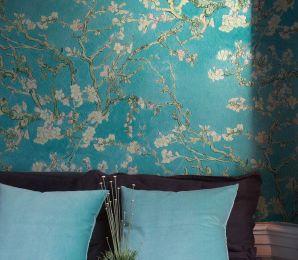 Wallpaper VanGogh Blossom turquoise