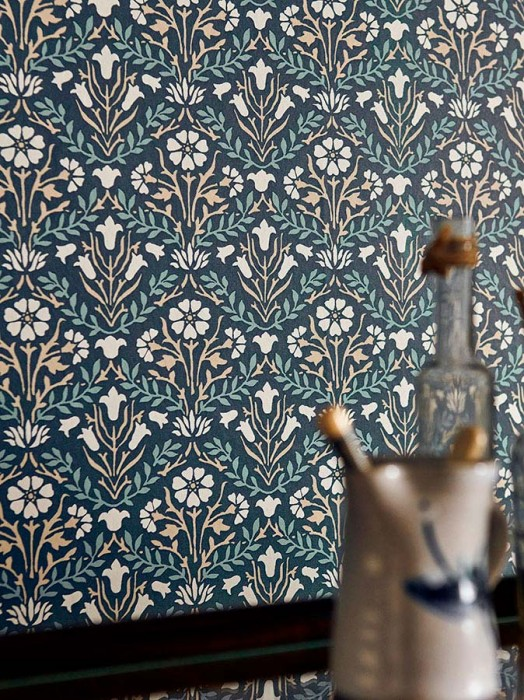 Wallpaper Elodie Matt Floral damask Small stylised flowers Anthracite Beige Cream Pastel blue