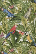 Wallpaper Emiane Matt Leaves Parrots Butterflies Grey white Fern green Golden yellow Red Sand yellow Violet blue