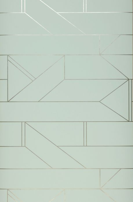 Papier peint géométrique Papier peint Elmi vert blanc Largeur de lé