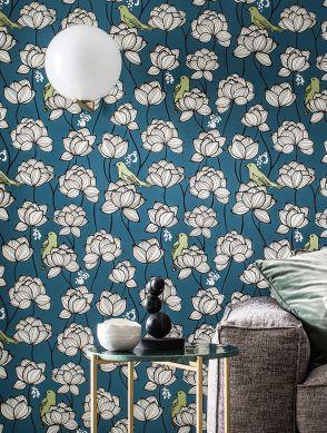 Papel pintado Ibusa azul celeste Ver habitación
