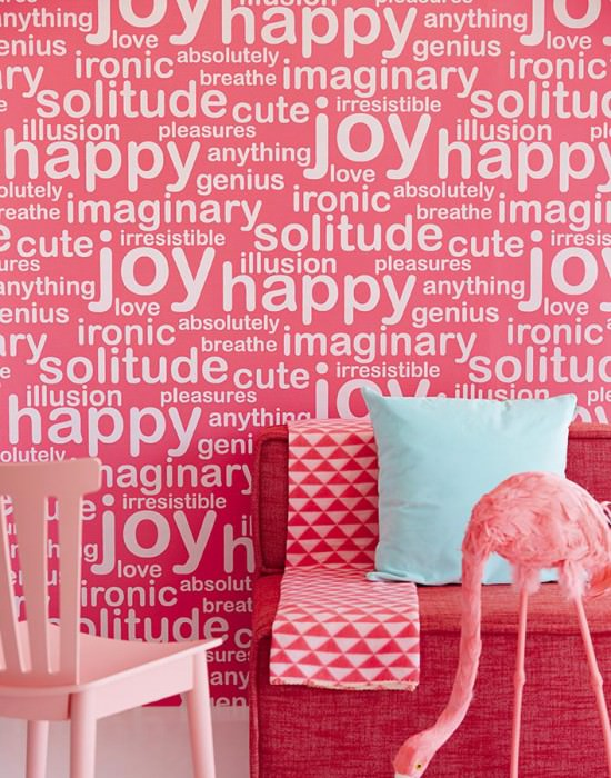 Wallpaper Beyla Matt pattern Looks like textile Shimmering base surface Words Raspberry red shimmer Light ivory