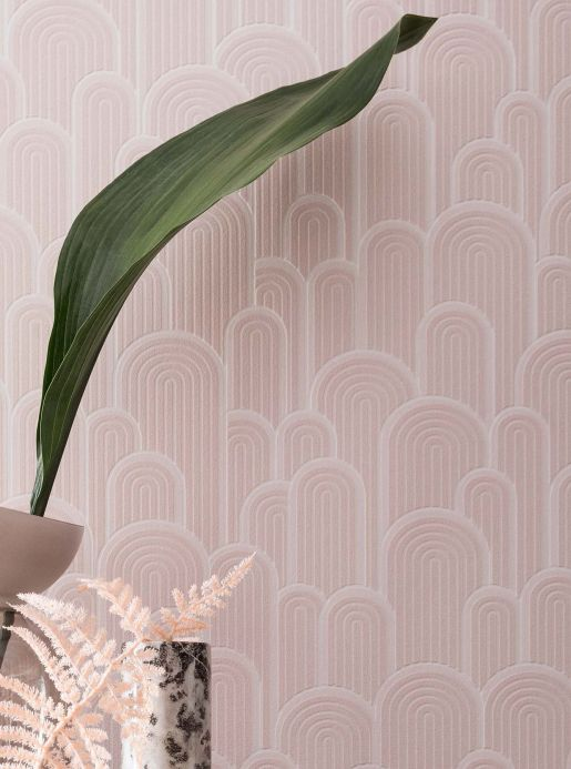 Retro wallpaper Wallpaper Fanti pale pink Room View