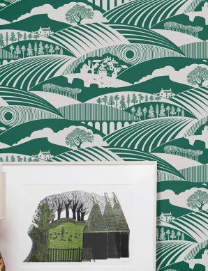 Carta da parati Ludovic verde pino Visuale camera