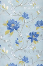 Wallpaper Miuba Matt Leaves Blossoms Characters Branches Light blue Beige grey Blue Dark blue shimmer Yellow green Silver shimmer White