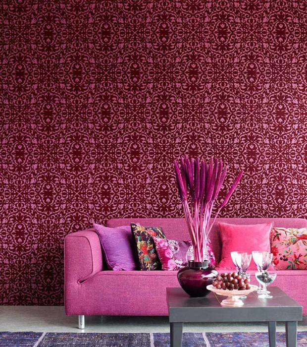 Wallpaper Juventas Matt Modern elements Light claret violet Dark claret violet Silver grey