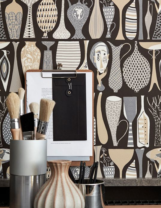 Funky Wallpaper Wallpaper Linette beige Room View