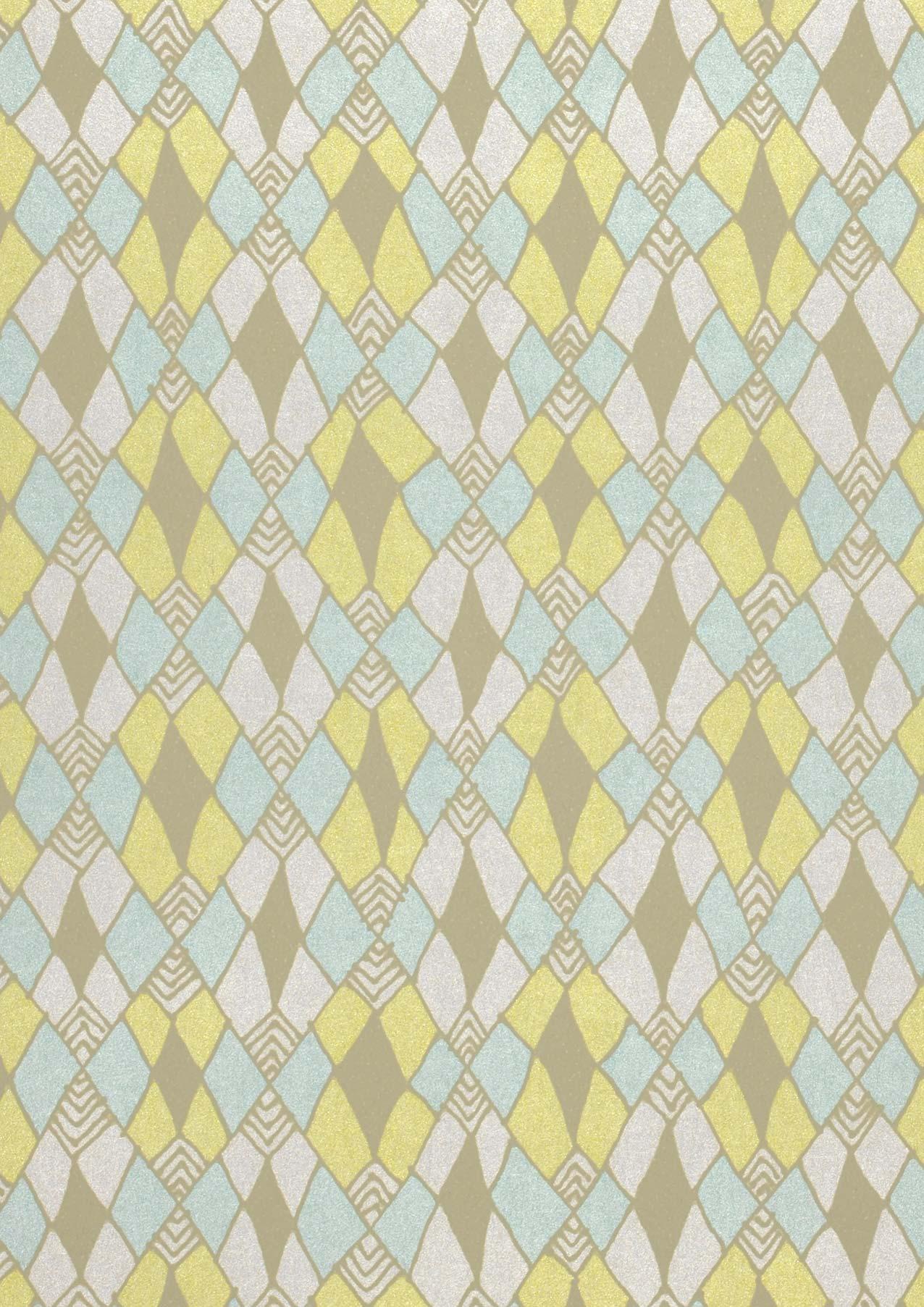 Papier peint tilos blanc cr me jaune vif vert clair jaune olive papier peint des ann es 70 - Largeur d un rouleau de papier peint ...
