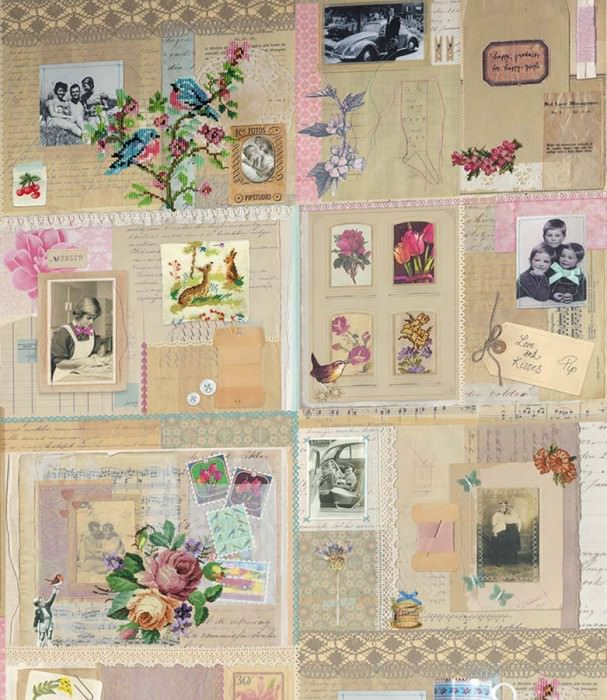 Wallpaper Frederike Matt Old photos and postcards Flowers Light grey beige Light blue Rose Black White