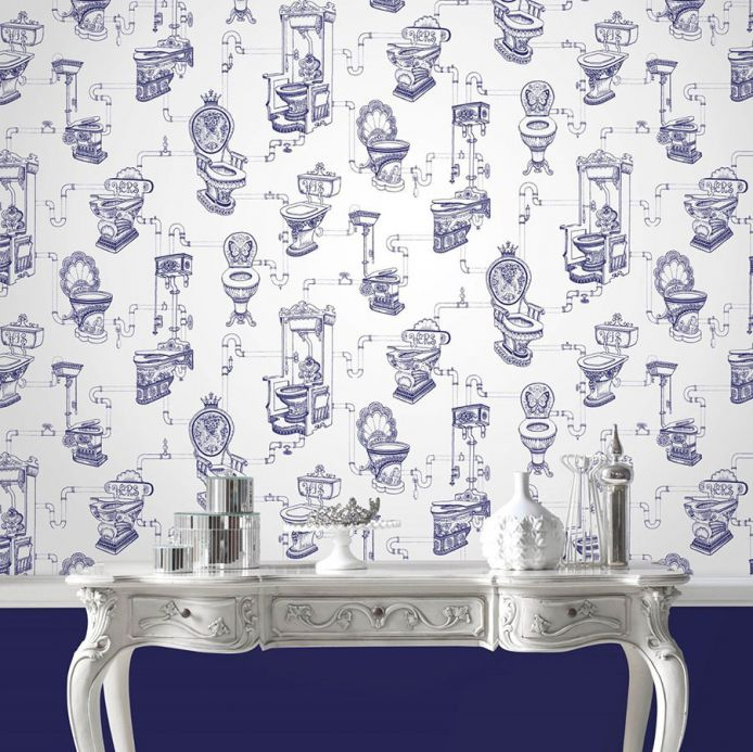 Archiv Wallpaper Toilet Heaven sapphire blue Room View