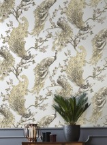Wallpaper Maribor Matt pattern Shimmering base surface Peacocks Branches with leaves and blossoms White aluminium Green beige Olive green Umbra grey