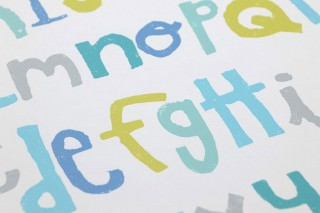 Wallpaper Letters Matt Letters Cream Blue Grey Green yellow Pastel turquoise Turquoise blue