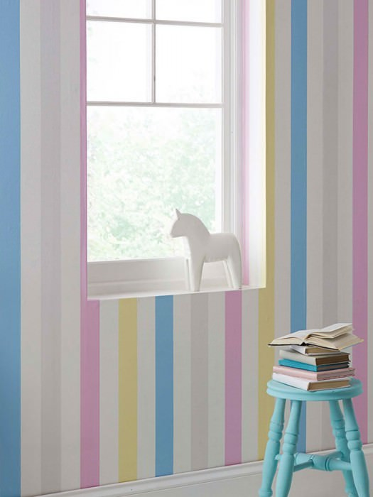 Wallpaper Zuleika Matt Stripes Light blue Light yellow Light grey Light violet White