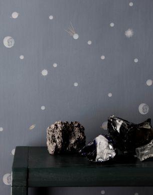 Tapete Moon Grau Raumansicht