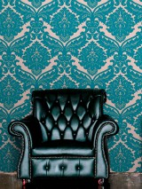Wallpaper Samanta Matt pattern Shimmering base surface Baroque damask Pearl beige Grey beige Turquoise blue