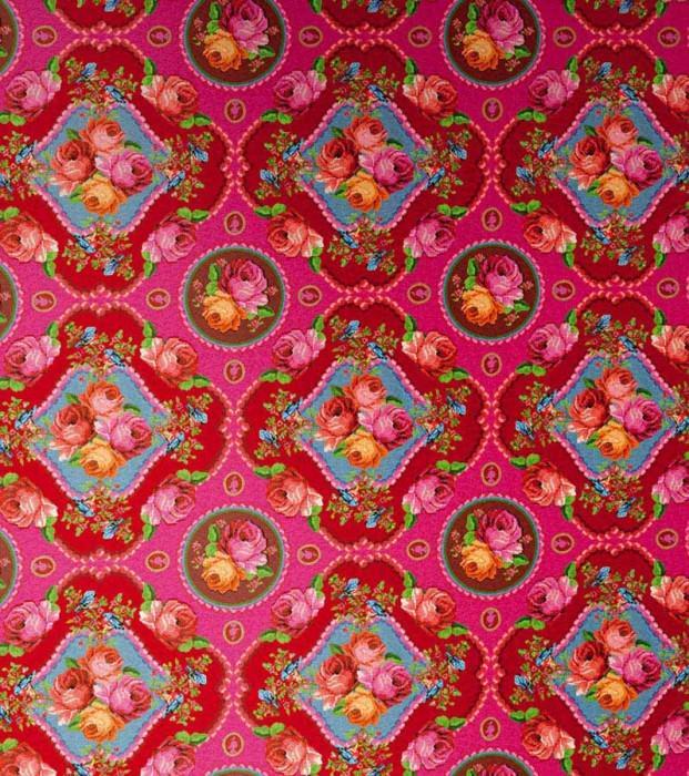 Wallpaper Wabasso Matt Flowers Floral damask Pink Pale orange Yellow green Light blue Red