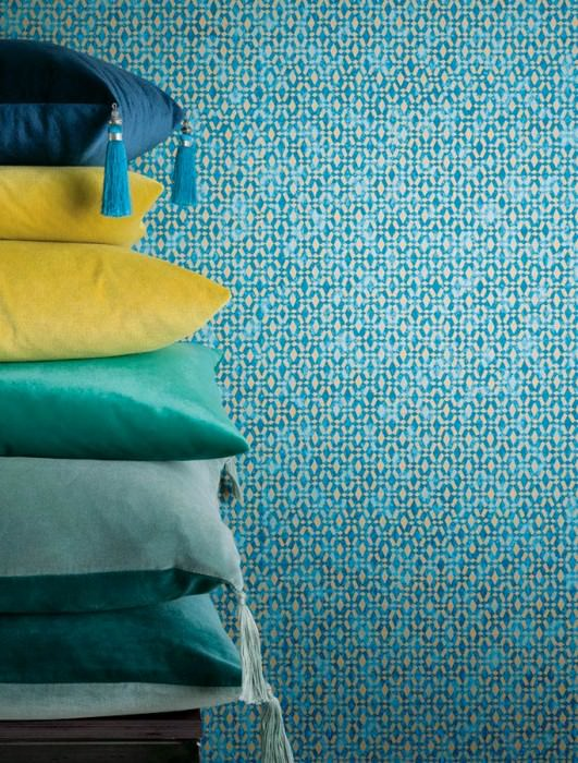 Wallpaper Zopara Shimmering pattern Matt base surface Graphic elements Dark blue Pastel blue Pearl gold