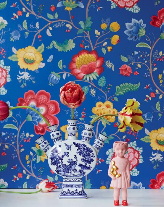 Belisama bleu gentiane gris beige bleu jaune or rouge - Papiers peints des annees 70 ...