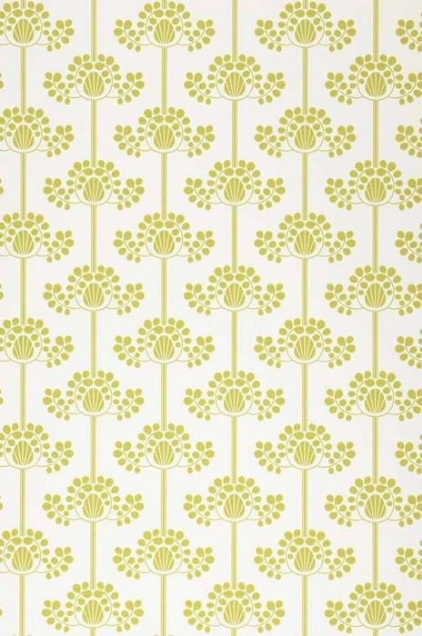 Wallpaper Valerie Matt Stylised flowers White Yellow green