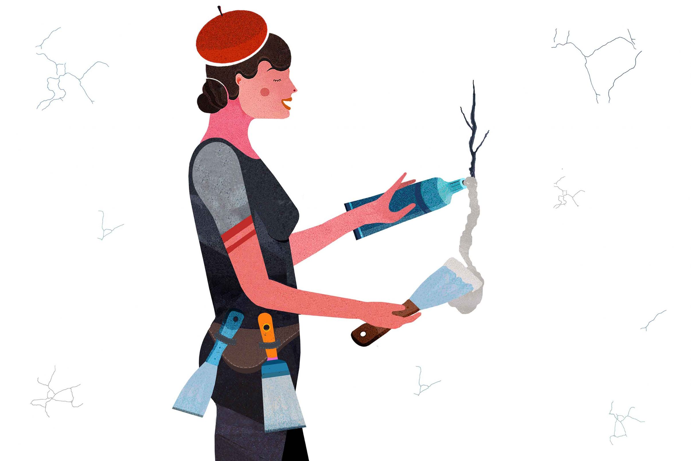 Preparacion-de-la-superficie-para-empapelar-Tapar-pequenos-huecos-y-grietas
