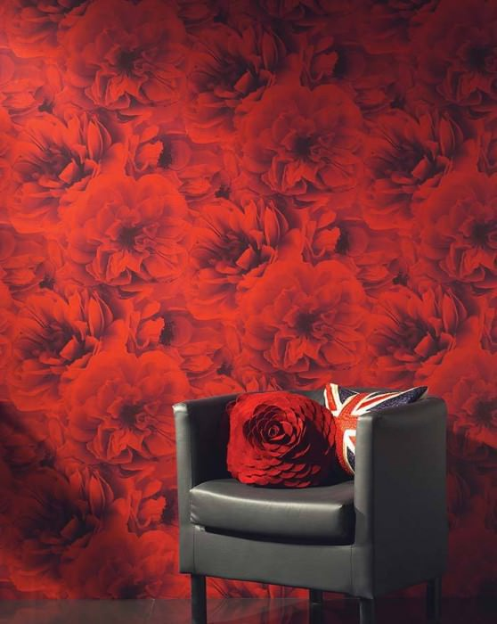 Wallpaper Melope Matt Blossoms Red Black grey