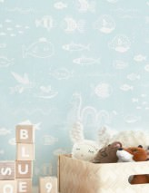 Papel pintado The Big Blue Efecto impreso a mano Mate Peces Turquesa pastel Blanco crema