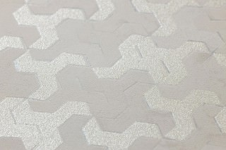 Wallpaper Skylar Shimmering pattern Matt base surface Geometrical elements Light beige grey White silver