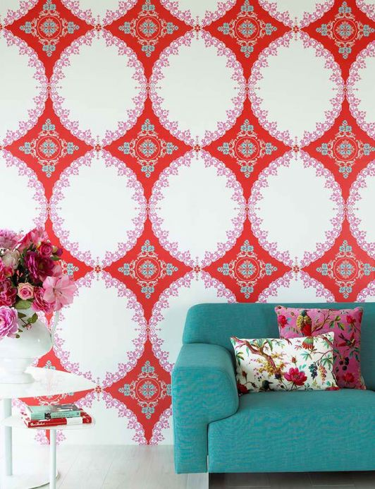 Archiv Wallpaper Selket red lustre Room View