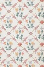 Papier peint Enki Mat Motifs fleurs historiques Losanges Blanc crème Vert foncé Jaune or Turquoise pastel Violet pastel