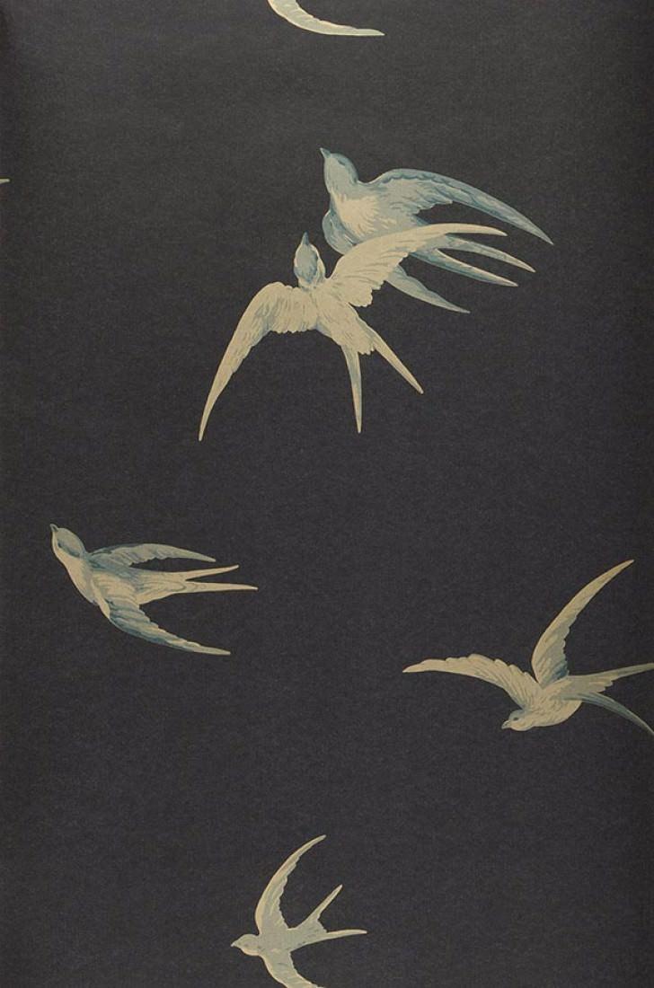 Papier Peint Izanami Gris Noir Bleu Gris Pale Dore Papier
