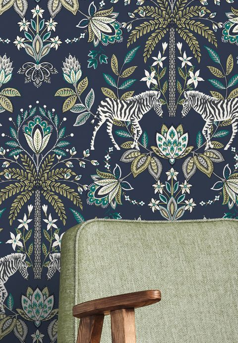 Floral Wallpaper Wallpaper Fento steel blue Room View