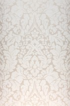 Papel pintado Lumina Patrón mate Superficie base brillante Damasco floral Beige grisáceo brillante Blanco crema