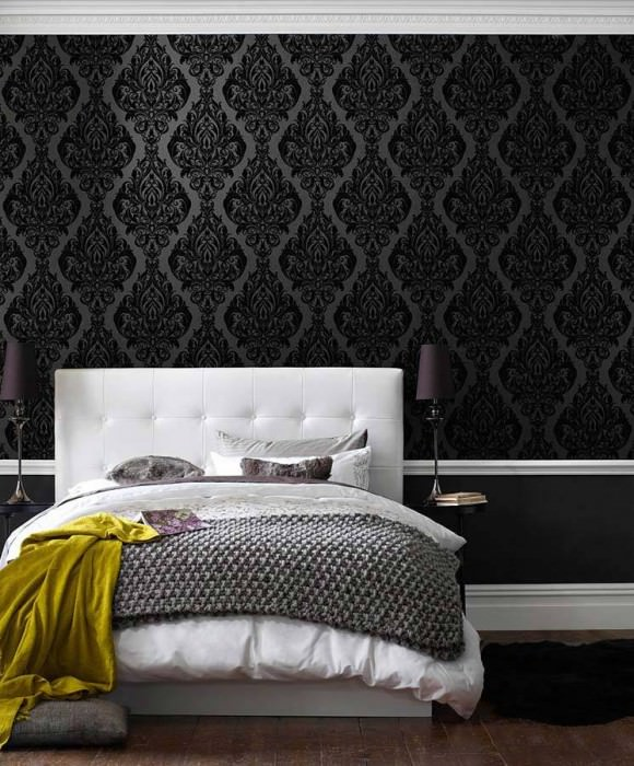Wallpaper Eshara Matt pattern Shimmering base surface Baroque elements Anthracite Black