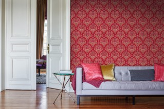 Wallpaper Adeline Matt Floral damask Red Claret violet Light grey beige Orange red Red violet