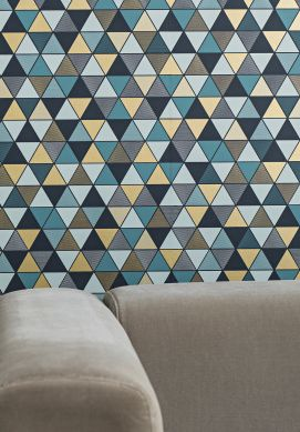 Wallpaper Saki mint grey Room View