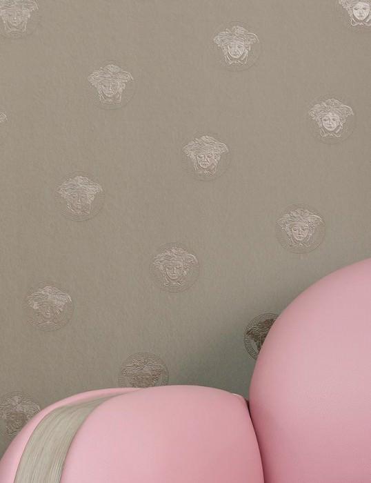 Papier peint Maxima Chatoyant Ornement représentant Méduse Gris brillant Gris quartz chatoyant