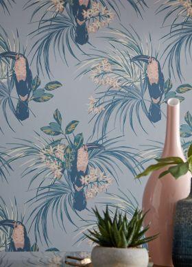 Papel de parede Toucan Jungle azul acinzentado claro Ver quarto