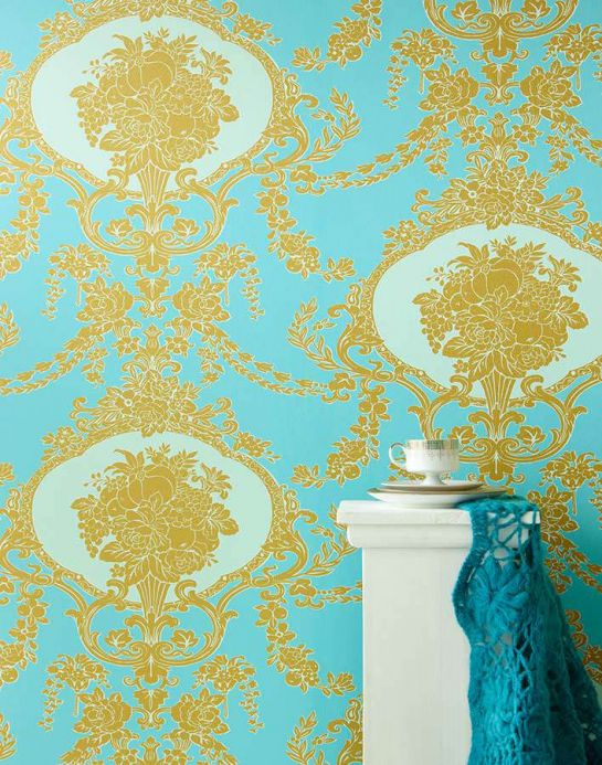 Archiv Wallpaper Karima turquoise Room View