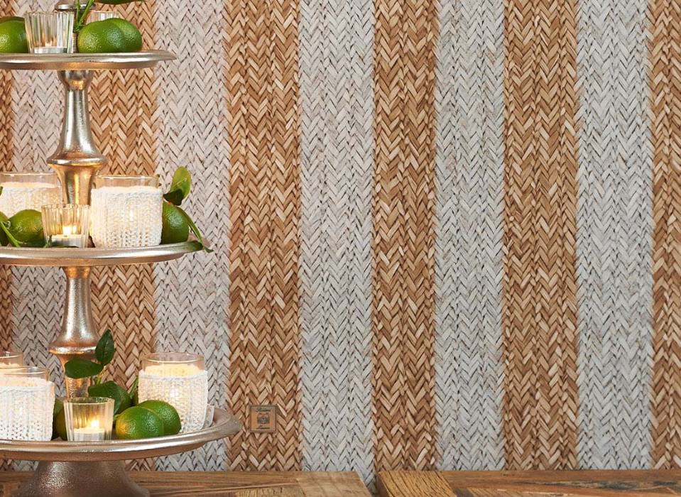 Wallpaper Rattan Striped Matt Woven Rattan Stripes Brown beige Grey white