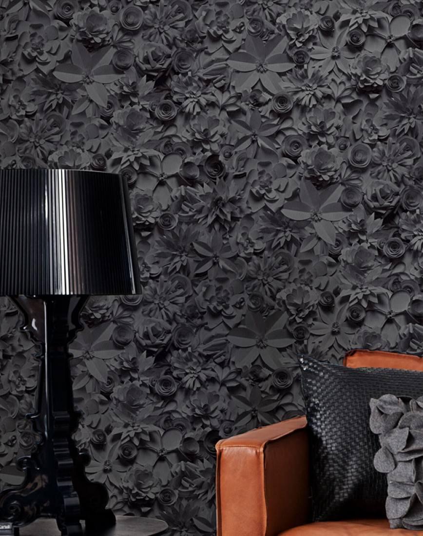 Schwarze Tapete Bestellen : 3D-Blossoms Schwarze Tapeten Weitere Tapeten Tapeten der 70er