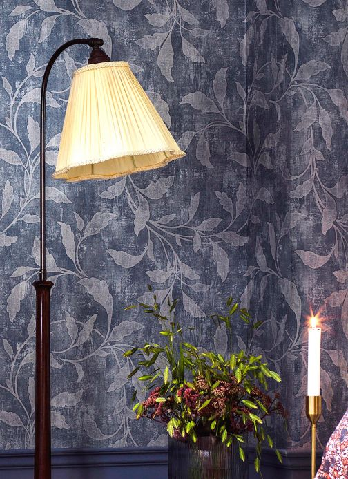 Botanical Wallpaper Wallpaper Ebru blue grey Room View