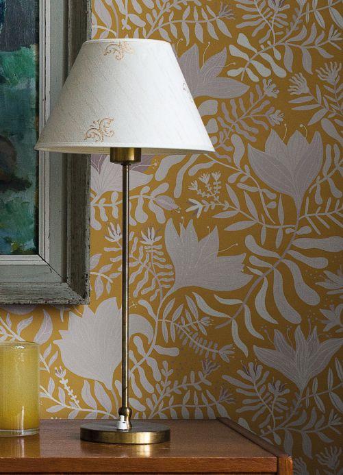 Floral Wallpaper Wallpaper Sukumala ochre yellow Room View
