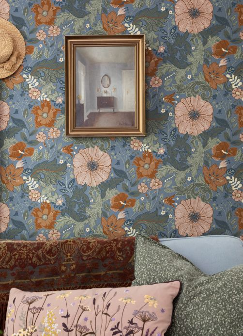 Papel pintado floral Papel pintado Smilla azul pichón Ver habitación