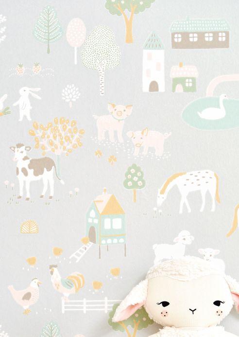Papier peint de Majvillan Papier peint My Farm gris blanc Vue pièce